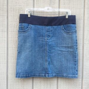 Motherhood Maternity light wash denim jean skirt M